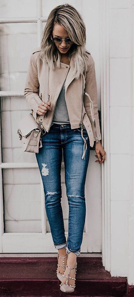 stylish outfit idea: biker jacket + bag + rips