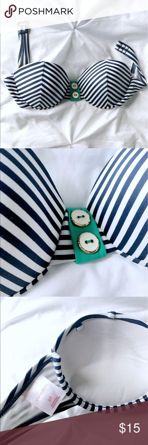 Nautical navy and white striped bandeau bikini top Navy and white striped nautical bikini top. With green button detail. Slight push up. Like new! Xhilaration Swim Bikinis