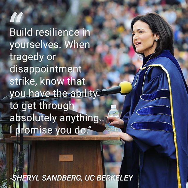 On May 14, Facebook COO, Sheryl Sandberg, gave a powerful speech to the graduating students of UC Berkeley about resilience and loss.  For the first time in public, she addressed the death of her husband last year. She went on to tell students that her loss made her more appreciative of time as well as the things that have gone right in her life.  As a part of our #BIBrightFuture series on Instagram, we are highlighting this year's best commencement speeches from across the U.S…
