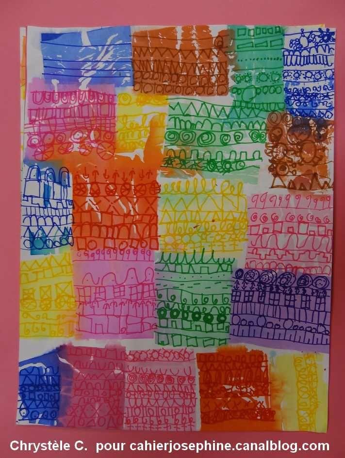 """Carres de papiers de soie poses puis sechés. Graphismes au marqueur Posca, indpiré du tableau """"villas florentines"""" de Paul Klee"""