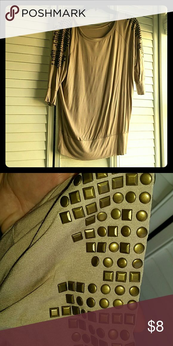 Slouchy studded top Tan slouchy top with gold studs on the shoulders. The perfect amount of edge. Tops