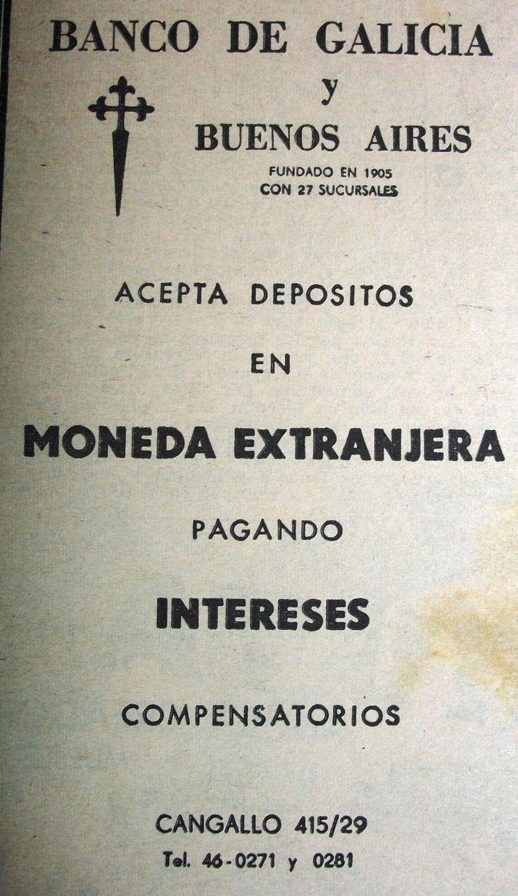 Banco de Galicia y Buenos Aires 1962