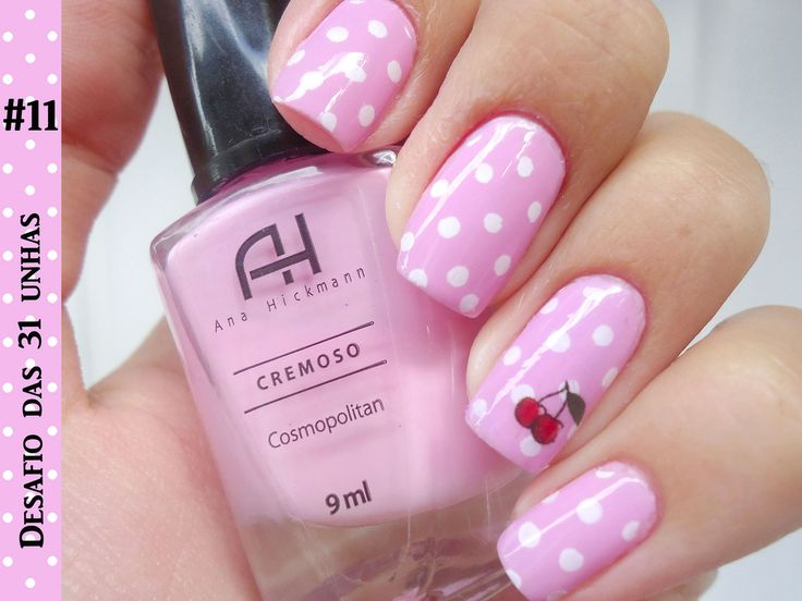 Pink and White dots with cherry accent nails nailart