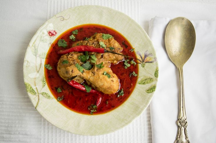 Chicken curry- the Indian way; hot and spicy.