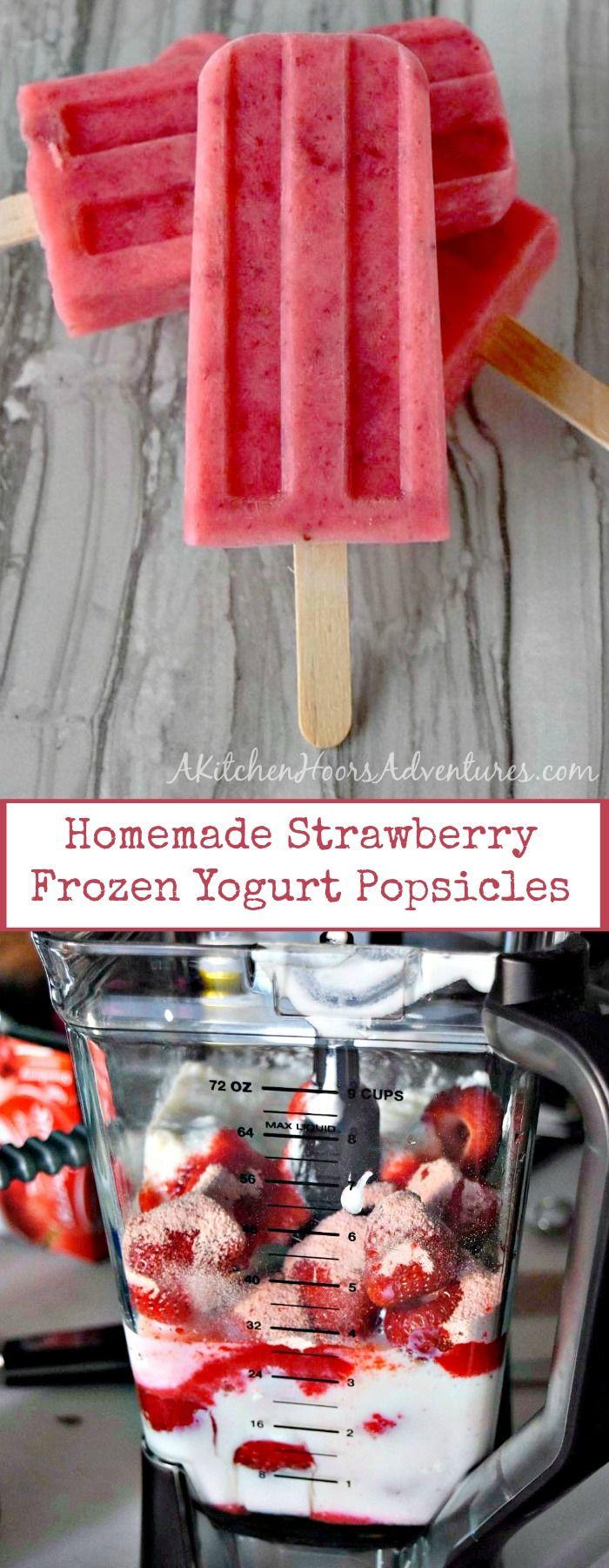 Fresh, in season strawberries, creamy yogurt, and sweet honey combine to make these summery Homemade Strawberry Frozen Yogurt Popsicles. #FreakyFridayRecipes via @akitchenhoor