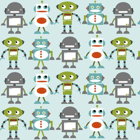 Thanks Cassie for this link!  Awesome fabrics!  Robot Friends Blue fabric by natitys on Spoonflower - custom fabric