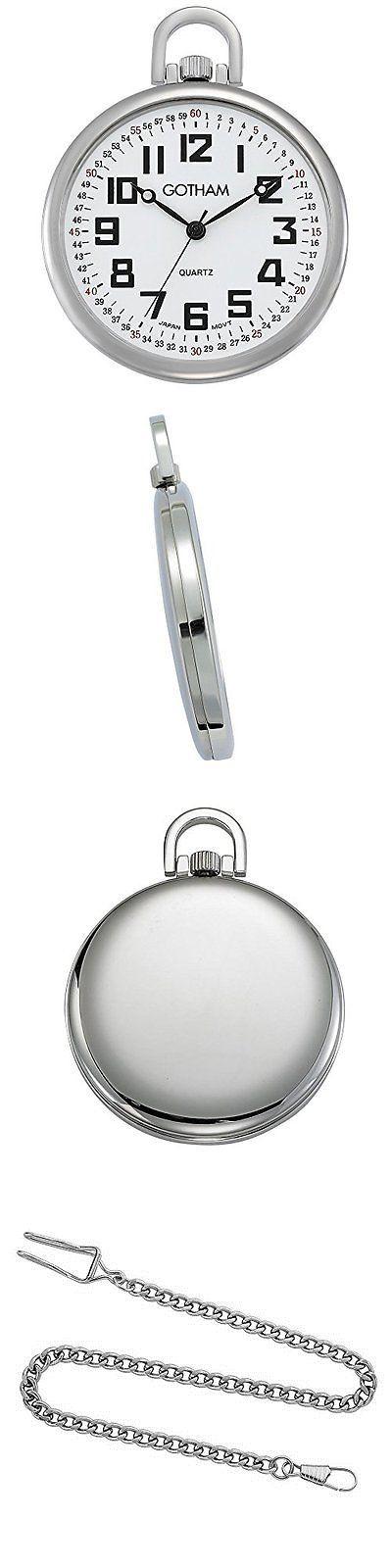 Modern 3938: Gotham Men S Silver-Tone Ultra Thin Railroad Open Face Quartz Pocket Watch # -> BUY IT NOW ONLY: $51.05 on eBay!