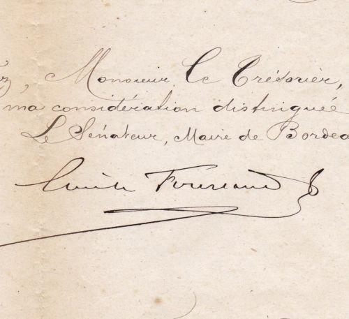 Lettre-Autographe-Emile-Fourcand-Mairie-de-Bordeaux-Gironde-1876