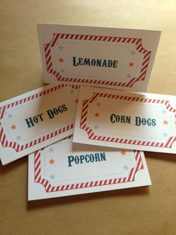 12 Circus or Carnival Food Label Tent Cards or Place door PaperFever, $10.00