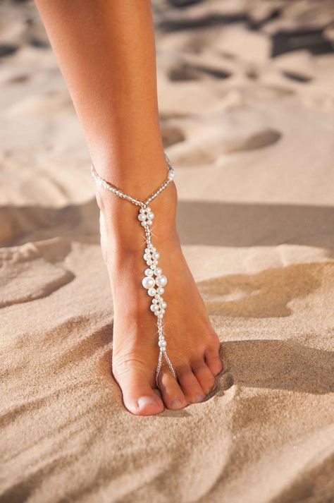 9af305b80 Wedding party set Bride jewelry Bridesmaid foot jewelry Barefoot sandals  Pearl and crystal Footless sandals Bridal accessories Beach sandals