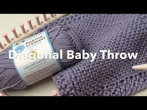 Loom Knit Diagonal Baby Throw by Lion Brand | Blanket or Washcloth (CC Closed Captions) - YouTube