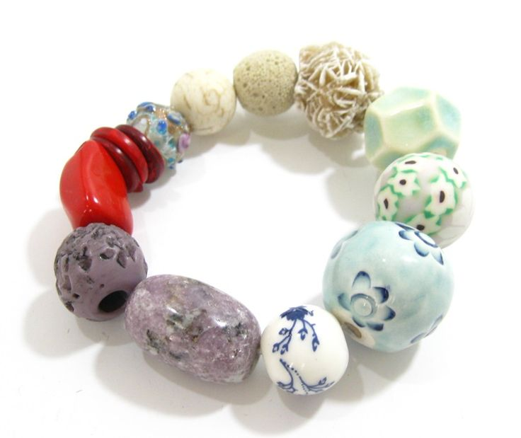 Ceramic and Stone Bracelet from Marzipan Jewellery