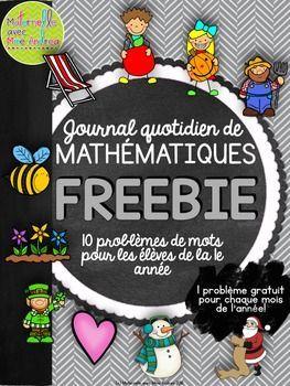 Journal quotidien de maths - 10 problèmes gratuits! (10 FREE French Math Journal Prompts) - 1e année