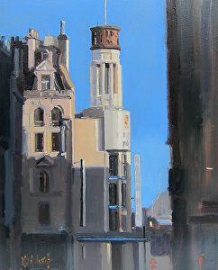 "Mama Mia, London by Michael John Ashcroft Oil ~ 10"" x 8"""