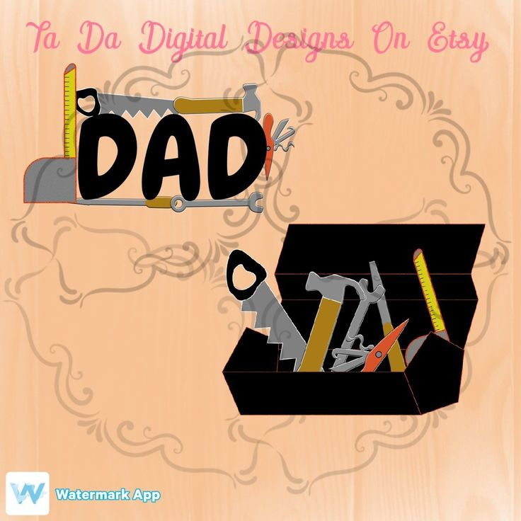 Father's Day Dad toolbox printable PNG file