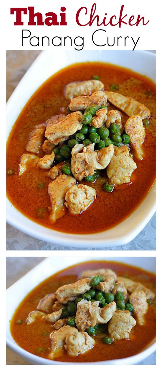 Thai Chicken Panang Curry - super quick, easy and delicious Thai chicken curry recipe ever. You can make this in 15 minutes | rasamalaysia.com
