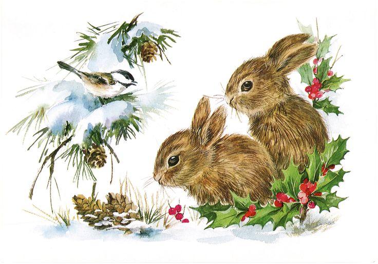 Vintage Christmas Graphics | Vintage Christmas Bunnies – Darling!