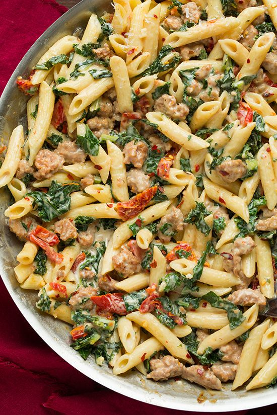 Creamy Kale and Turkey Sausage Pasta with Sun Dried Tomatoes | Cooking Classy