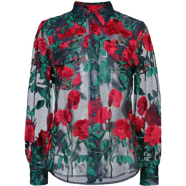 Adam Selman sheer rose embroidered blouse ($495) ❤ liked on Polyvore featuring tops, blouses, blue, embroidered tops, rose top, rose blouse, sheer blouses and nylon top