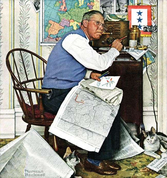 """""""Armchair General"""" by Norman Rockwell, April 29,1944. This Saturday Evening Post cover shows a worried patriarch who tunes in to the radio to chart war maneuvers. More important, he's attempting to deduce his three sons' whereabouts and safety."""