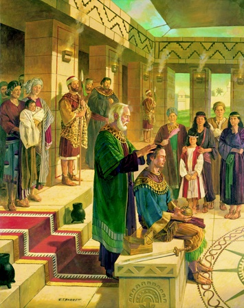 Book of Mormon. King Benjamin anoints Mosiah to become king.