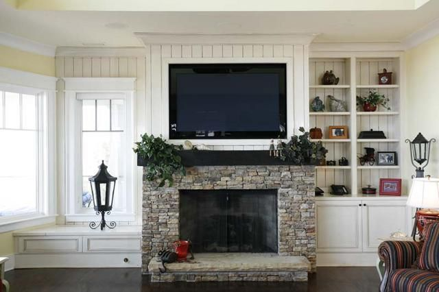 Tv On Wall With Only One Window Livingroom Layout Fireplaces Layout Fireplace Built Ins