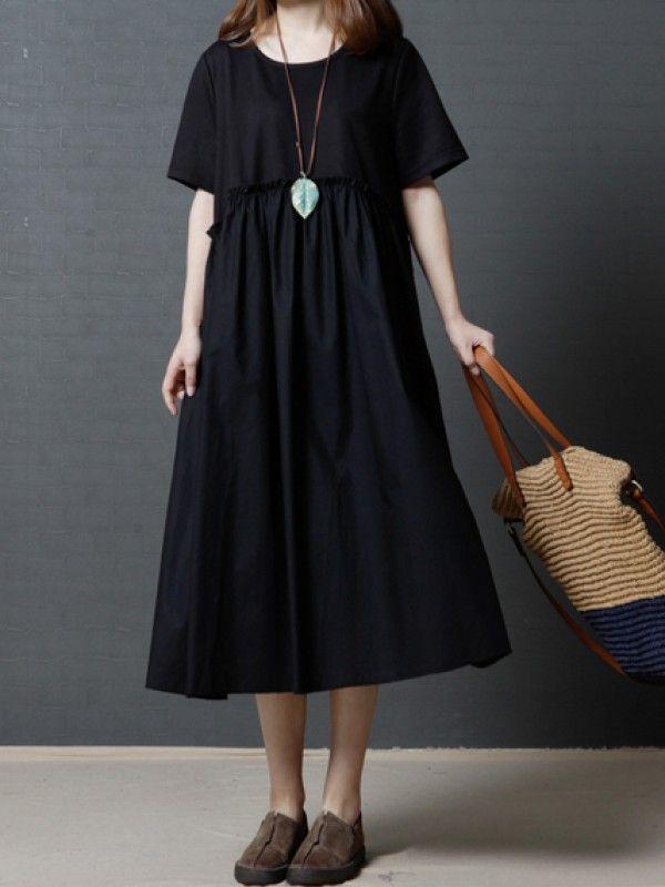 簡約切り替えラウンドネック半袖ロングカジュアルワンピース - レディースファッション激安通販|20代·30代·40代ファッション