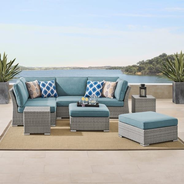 Patio Furniture Sets, Grey Rattan Garden Furniture With Blue Cushions
