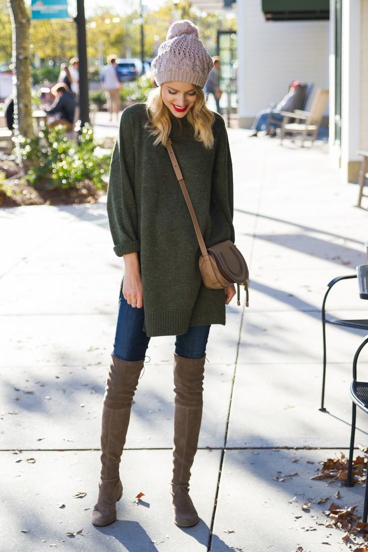 Pair an oversized sweater with over the knee boots this fall for optimum warmth and ultimate style.