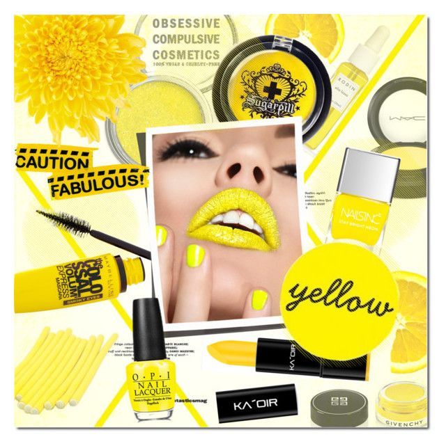 Caution Fabulous! by justlovedesign on Polyvore featuring beauty, Obsessive Compulsive Cosmetics, Sugarpill, Maybelline, MAC Cosmetics, Givenchy, OPI, Rodin, nails and yellow