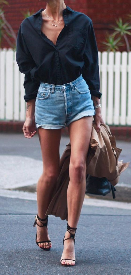 How to dress up denim shorts