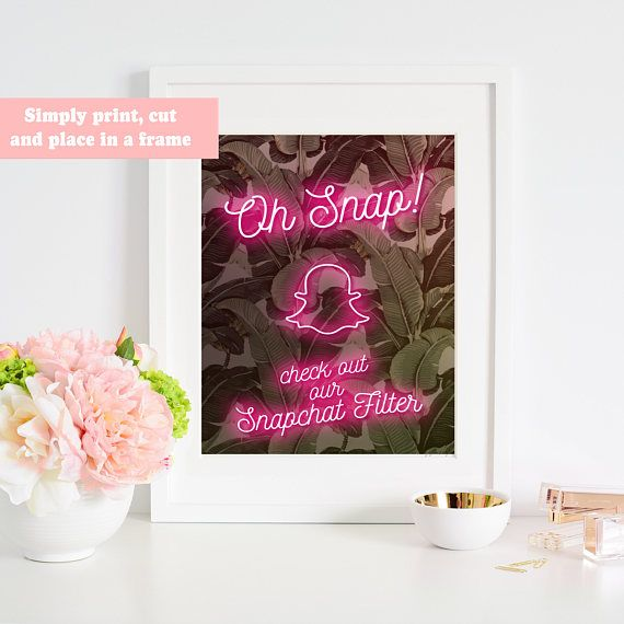 Let your guests know that your party has a CUSTOM SNAPCHAT GEOFILTER!! Simply print, cut and place in a frame and you are good to go!  This is for the sign shown and the text will be customized for your event.  ❤ The purchase includes  · 1 high resolution (300dpi) JPEG · AVAILABLE IN 4 SIZES: 4x6, 5X7, 8X10 or custom!  ❤ Not includes   • No physical or printed product will be delivered to buyer. (We don't offer any printing services)  ❤ Process  From the moment of purchase, it takes:  • Add…
