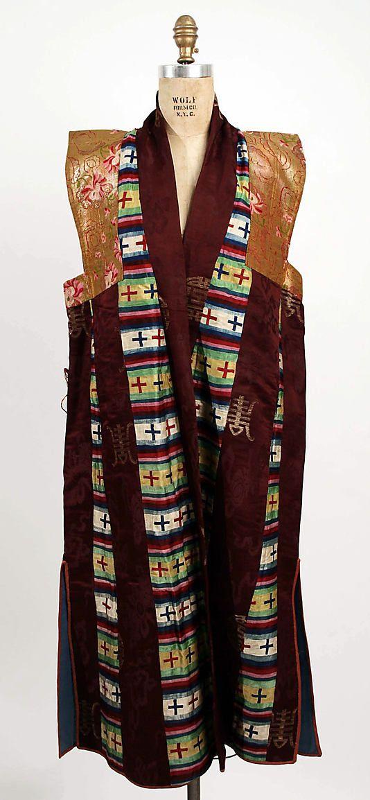Silk wedding robe, late 19th century, Tibetan