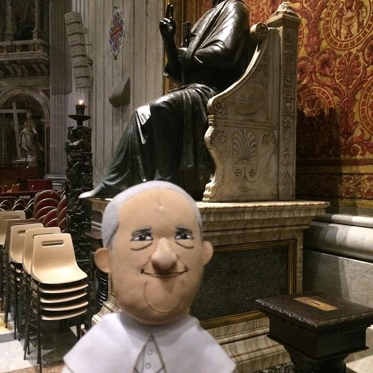 In the background is the first Pope (Saint Peter) and the foreground the last (current) Pope :)