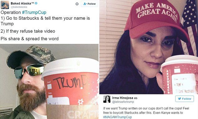 "#Republican voters #fight backlash by telling STARBUCKS baristas their name is ""#Trump""..."