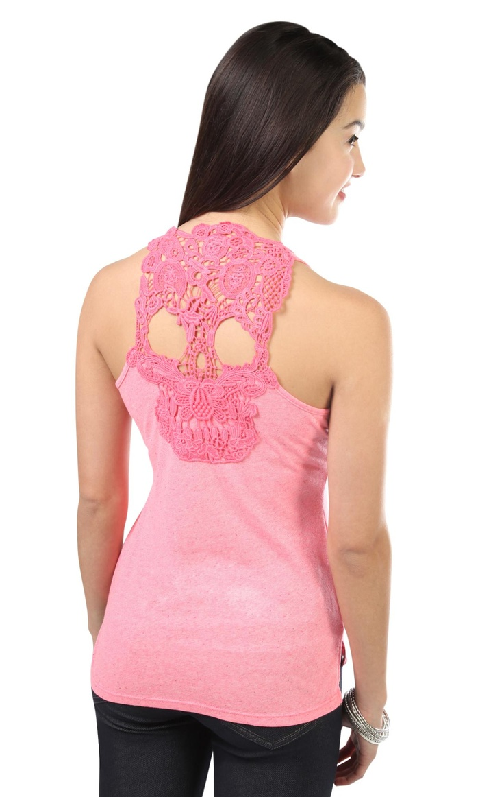 racer back high low tank top with skull crochet patch on back