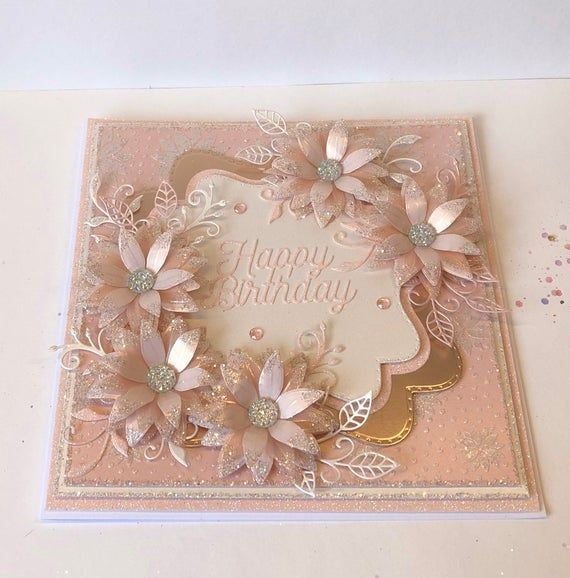 Elegant Handmade Luxury Boxed Birthday Card In Rose Pink Boxed Birthday Cards Chloes Creative Cards Birthday Cards