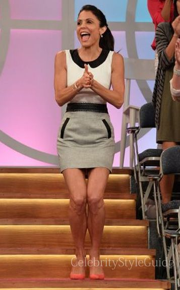 Seen on Celebrity Style Guide: Bethenny Frankel wore this sleeveless colorblock Dress and Manolo Blahnik heels on her TV show 'Bethenny' September 18, 2013