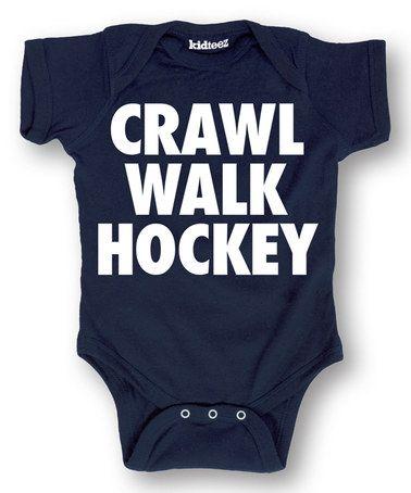 Look at this #zulilyfind! Navy 'Crawl Walk Hockey' Bodysuit - Infant #zulilyfinds