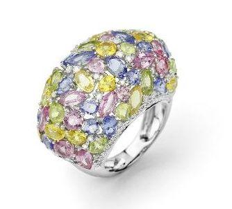 Facet Barcelona multicolor Festival Fruits ring gemstones.