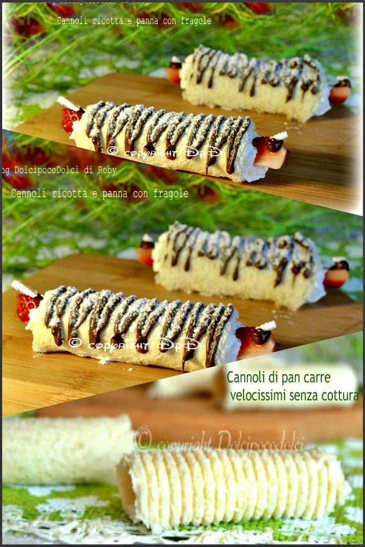 #Cannoli #Fragole #ricotta e #panna   #RicetteVeloci #SenzaCottura   #Dolci improvvisi da fare in pochi minuti. #Ricette