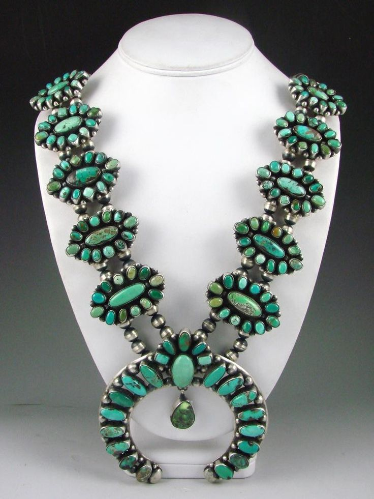 LOVE Carico Lake.  Squash Blossom Necklace | Ella Peter (Navajo).  Sterling silver and Carico Lake Turquoise