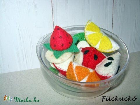 gyümölcs saláta filcből - kis csomag babakonyhába játék konyhába (Filckucko) - Meska.hu