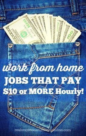 Do you need to make more than $10 an hour working from home? This is a huge list of legitimate companies that hire people to work from home and they all pay $10 or more per hour. #workathome #WAHM WAHM #workathomemom work at home mom Make Money Money Making Ideas