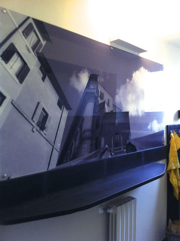 Black and white photo print on #plexiglas, on a #kitchen wall.