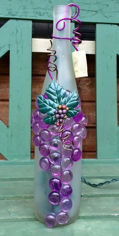 Decorative Embellished Frosted Purple Wine Bottle by booklooks