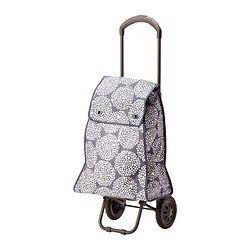 IKEA - KNALLA, Carrito de compra, gris/blanco, , El carrito con ruedas es fácil de guardar porque se pliega.Es fácil encontrar la cartera, las llaves y el teléfono móvil, gracias a la bolsa desmontable y al gancho para llaves que lleva en el interior.Puedes regular y bloquear el asa en dos medidas distintas.Ideal para transportar cualquier cosa: desde vestidos hasta productos de alimentación.Fácil de limpiar con un paño húmedo.
