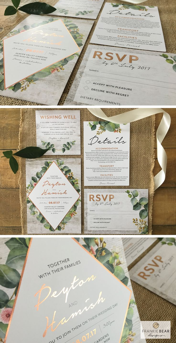 Botanical Greenery Wedding Invitation with Copper Foil by Frankie Bear Designs. This gorgeous, greenery geometric wedding invitation with copper, eucalyptus leaves and a rustic wood background will coordinate perfectly with your natural or greenery wedding theme!