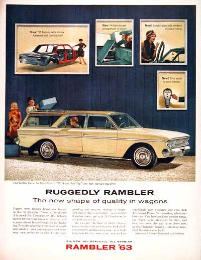 1963 Rambler Classic Cross Country 770 Station Wagon original vintage ad. Ruggedly Rambler. The new shape of quality in wagons. Built by American Motors Corporation.