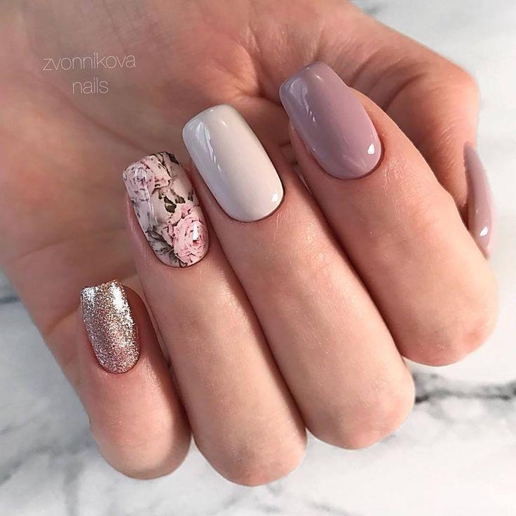 Beautiful Delicate Nails Cute Nails Fall Nail Ideas Nails For September 1 Nails Of Natural Shades Nails With Flowe Trendy Nails Pretty Nails Shellac Nails